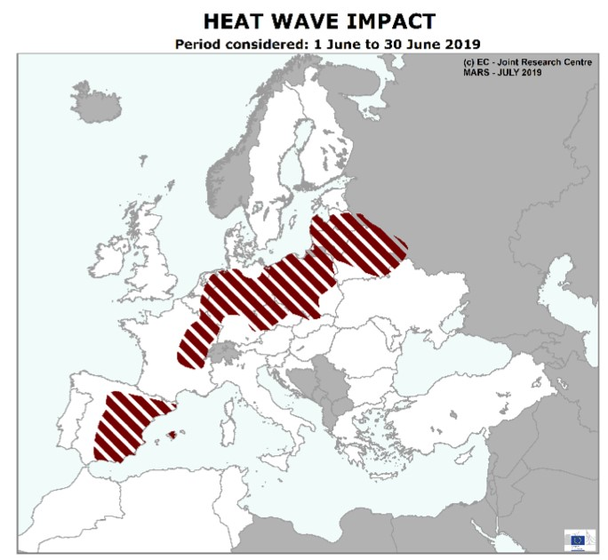 Heatwave impact in Europe during June 2019 according to JRC